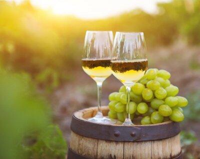 Картина Белый виноград и два бокала белого вина