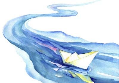 Картина Белая бумага лодки, плавающие в воде. Акварель реки и корабля на белом фоне.