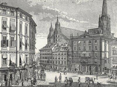 Картина Вена, со-им-Айзен-Платц Энде 18. Jh., Kupferstichvorlage