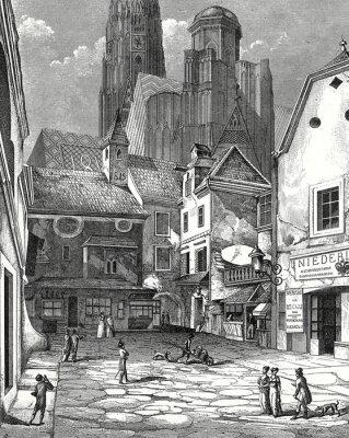 Картина Вена, Zwettlhof мит Стефана мкм 1842 Kupferstichvorlage