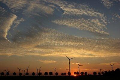 Картина Ветряных энергоустановок им Aufbau бай Закат мит Cirrocumuluswolken