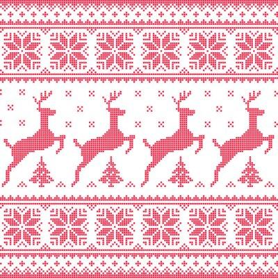 Картина Зима, Рождество красный бесшовный фон с неровной оленей