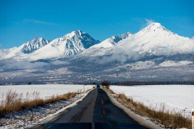 Картина Winter Driving - Зимняя дорога Страна дорога, ведущая через зимний горный пейзаж.