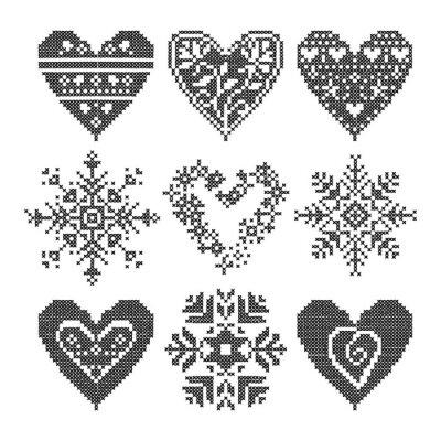 Картина Зимняя любовь бесшовные черный набор сердца