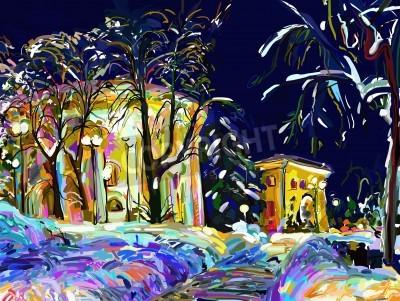 Картина Зимняя ночь городской digitalpainting
