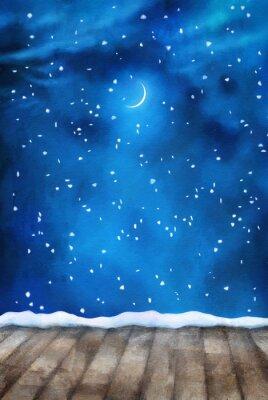 Картина Зимняя ночь Картина фона