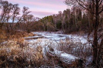 Картина Зимой или весной река и лес