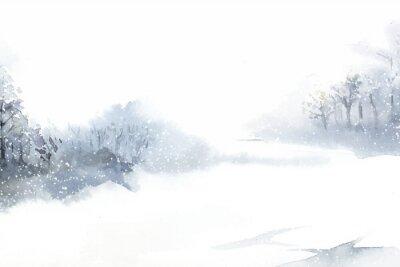Картина Зимний пейзаж чудес, нарисованный акварелью