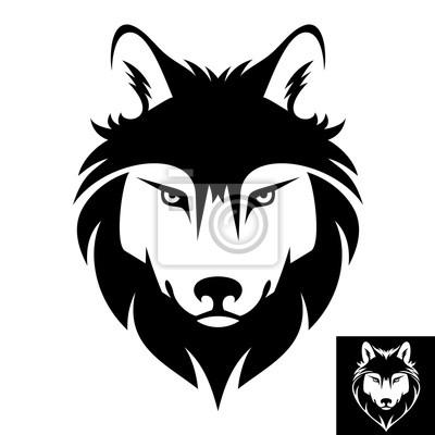 Волк глава логотип в черно-белом. Инверсия версия включены.