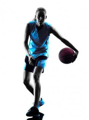 Картина женщина баскетболист силуэт