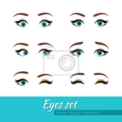 Женщина голубые глаза установить. Различные выражения. элементы дизайна вектор.