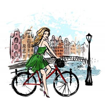 Картина женщина за рулем велосипеда