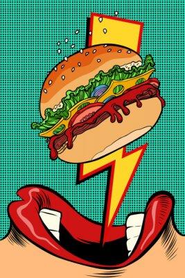 Картина Женщина ест гамбургер. Стиль поп-арт. Женский рот