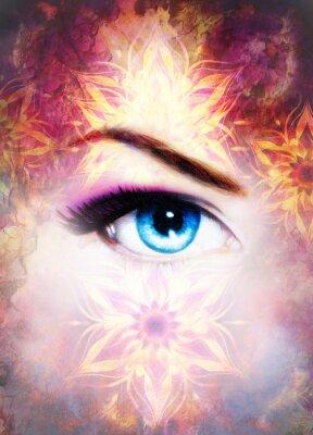 Картина Женщина глаз и мандала, Аннотация цвет фона и пустыни потрескивание.