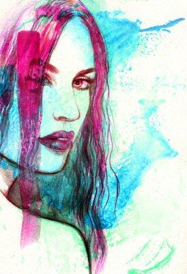 Картина Женщина лицо. Абстрактные акварель иллюстрации