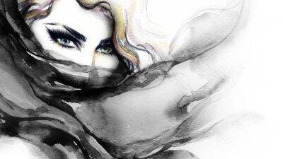 Картина Женщина лицо. Мода иллюстрации. Акварельная живопись