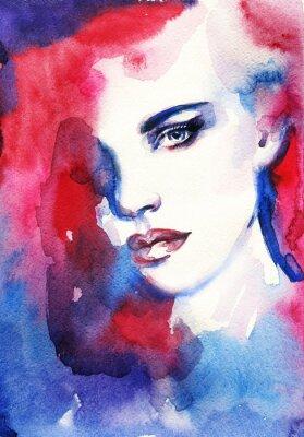 Картина Женщина лицо. Ручная роспись моды Иллюстрация