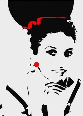 Картина Женщина серый и Blask,