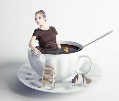Картина женщина в чашке кофе