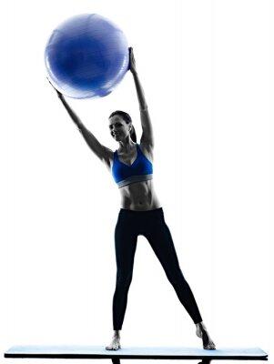 Картина женщина мяч пилатес упражнения фитнес изолированных