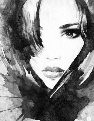 Картина Портрет женщины .abstract акварель