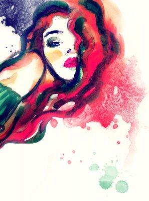 Картина женщина портрет, абстрактные акварель .fashion фон