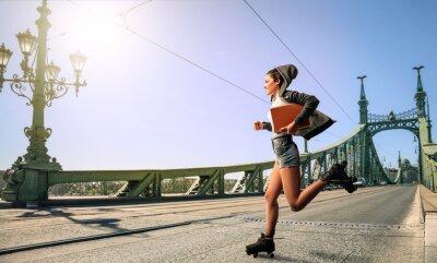 Картина Woman running to school