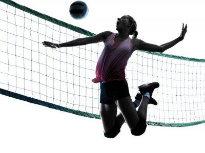Картина женщина волейболисты изолированные силуэт
