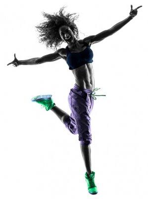 Картина женщина Zumba Танцовщица упражнения силуэт