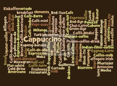 Картина Слово облако кофейные напитки