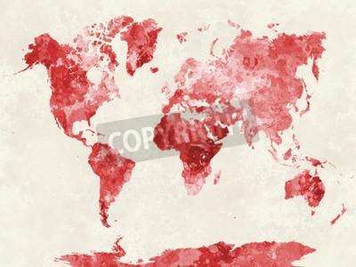 Картина Карта мира в акварельной живописи абстрактные брызги
