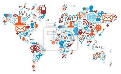 Карта мира формы изготовлены с иконками социальных медиа