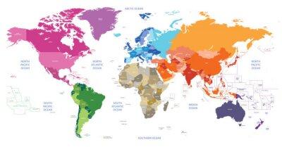 Картина политической карте мира окрашены континентах