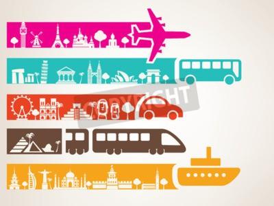 Картина мировые путешествия по различным видам транспорта, ориентиры