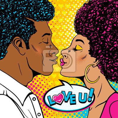 Ничего себе. Счастливый человек и сексуальная женщина в профиль с афро прическа растягиваются друг к другу для поцелуя и Love You речи пузырь. Векторный фон в стиле ретро поп-арт. День Святого Валенти