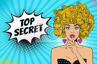 Ничего себе. Молодая сексуальная удивлен блондинка с открытым ртом, удерживая указательный палец во рту, как знак молчания, Совершенно секретно речи пузырь. Векторный фон в стиле ретро комиксов поп-ар