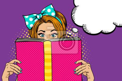 Ничего себе женского лица. Сексуальная молодая женщина-домохозяйка с широко открытыми глазами и лук на голове с большой розовой книгой. Векторные красочный фон в поп-арт ретро комический стиль. Плакат