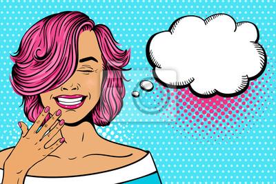 Ничего себе поп-арт женское лицо. Сексуальная молодая женщина с розовой кудрявой прической и закрытыми глазами смеется. Векторные яркие иллюстрации в стиле поп-арт в стиле ретро комиксов. Пригласитель