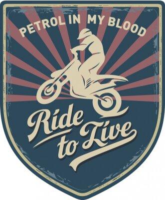 Картина Мотоциклист, Ездить, чтобы жить, Бензин в моей крови, мотоцикл, Мотокросс, нашивка, иллюстрация