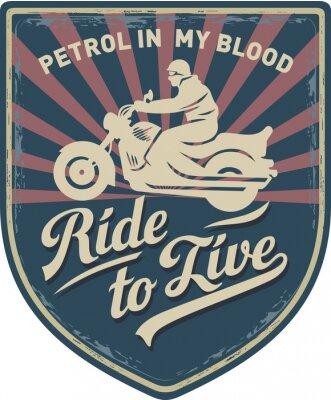 Картина Мотоциклист, Ездить, чтобы жить, Бензин в моей крови, мотоцикл, Спорт, нашивка, иллюстрация