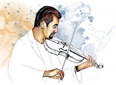 Картина Рисунок-иллюстрация ,, Музыкант играет на скрипке ,,.