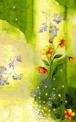 Картина 수채화 배경 위에 그려진 수선화 줄기 와 싸리 꽃