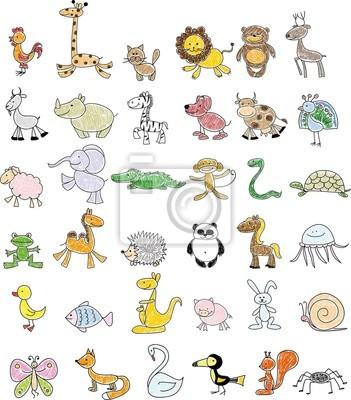 Вектор каракули детские рисунки милых животных