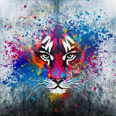 Картина кляксы на стене.фантазия с тигром