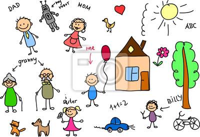 счастливой семьи, детского рисунка, вектор