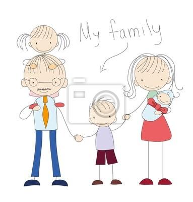 Вектор детский каракули счастливой семьи