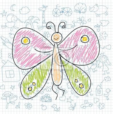 Детская рисунок каракули бабочки