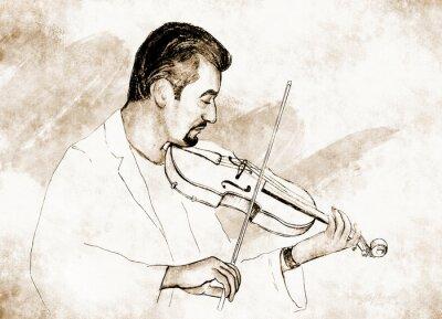 Картина Рисунок-иллюстрация ,, ,, Скрипач.