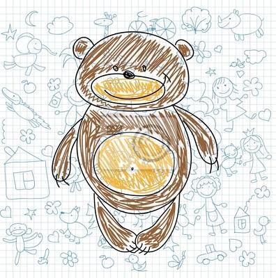 Детские рисунки каракули медведя