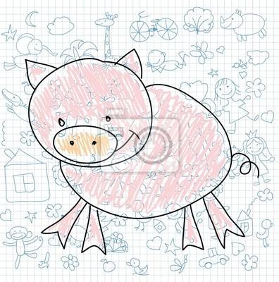 Детские рисунки каракули свиньи
